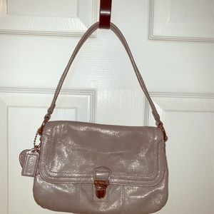 Beautiful silver sheen purse with crossbody strap
